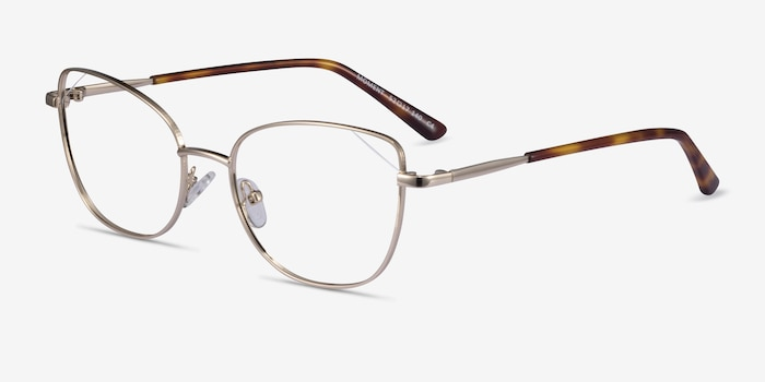 Moment Light Gold Metal Eyeglass Frames from EyeBuyDirect, Angle View
