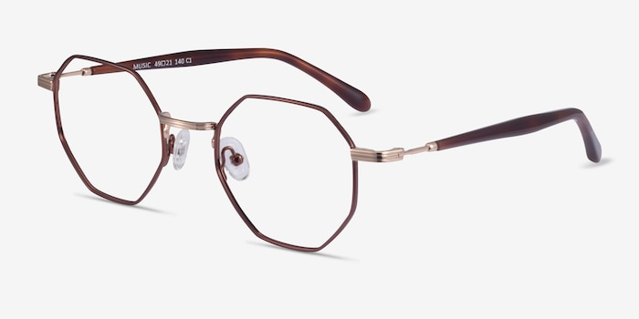 Music Brown Gold Metal Eyeglass Frames from EyeBuyDirect, Angle View