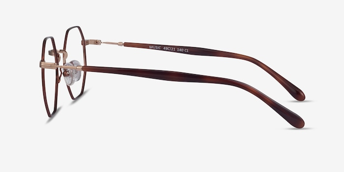 Music Brown Gold Metal Eyeglass Frames from EyeBuyDirect, Side View