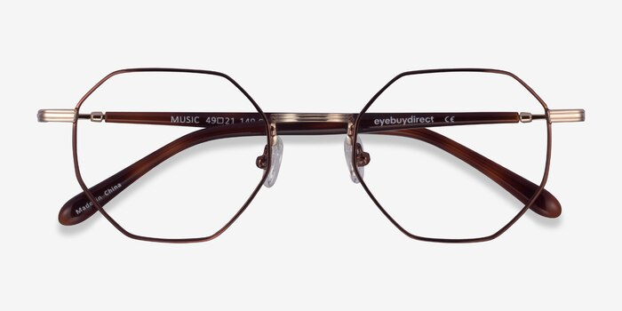 Music Brown Gold Metal Eyeglass Frames from EyeBuyDirect, Closed View