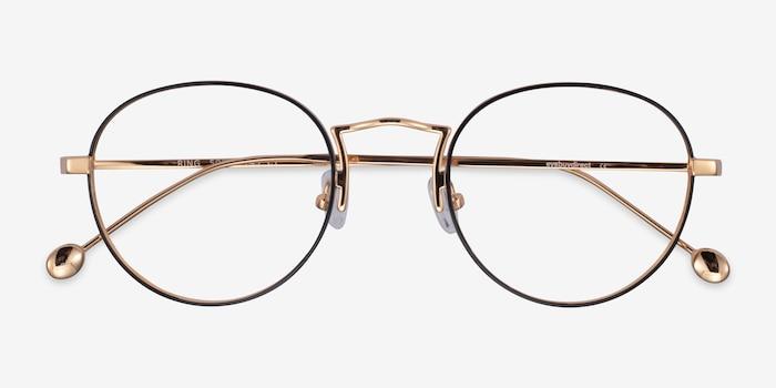 Ring Black  Gold Métal Montures de Lunette de vue d'EyeBuyDirect, Vue Rapprochée