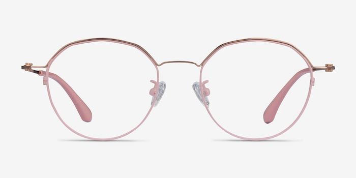 Hills Pink  Rose Gold Metal Eyeglass Frames from EyeBuyDirect, Front View