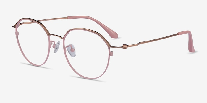 Hills Pink  Rose Gold Metal Eyeglass Frames from EyeBuyDirect, Angle View