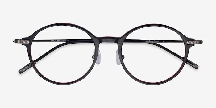 Reily Black Red Acétate Montures de Lunette de vue d'EyeBuyDirect, Vue Rapprochée