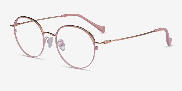 Patel Pink  Rose Gold Métal Montures de Lunette de vue d'EyeBuyDirect, Vue d'Angle