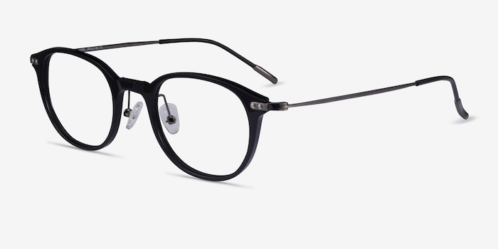 Jones Black  Gunmetal Acetate-metal Eyeglass Frames from EyeBuyDirect, Angle View