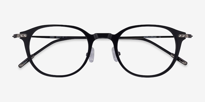 Jones Black  Gunmetal Acetate-metal Eyeglass Frames from EyeBuyDirect, Closed View