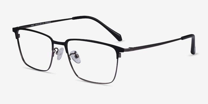 Amet Black  Gunmetal Metal Eyeglass Frames from EyeBuyDirect, Angle View
