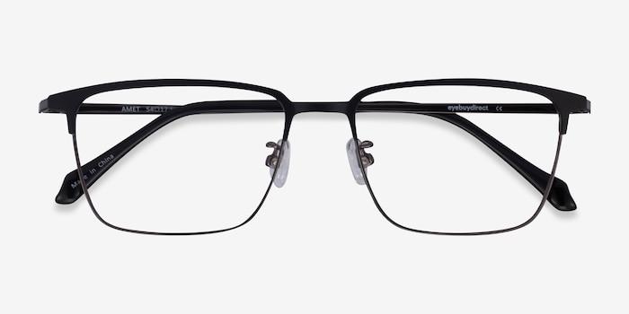 Amet Black  Gunmetal Metal Eyeglass Frames from EyeBuyDirect, Closed View