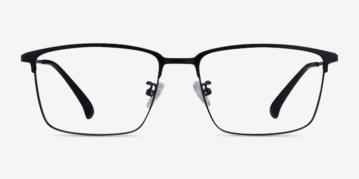 Example Black Metal Eyeglass Frames from EyeBuyDirect, Front View