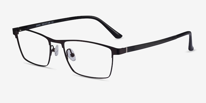 Davis Black Plastic-metal Eyeglass Frames from EyeBuyDirect, Angle View