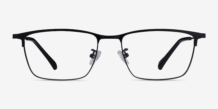 Ipsum Black Metal Eyeglass Frames from EyeBuyDirect, Front View