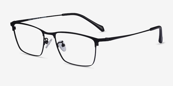 Ipsum Black Metal Eyeglass Frames from EyeBuyDirect, Angle View