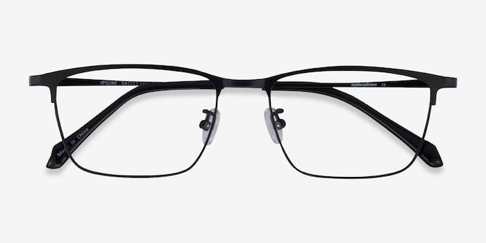 Ipsum Black Metal Eyeglass Frames from EyeBuyDirect, Closed View
