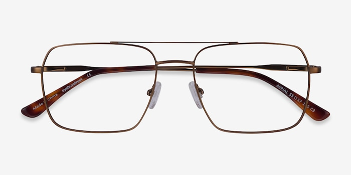 Aerial Bronze Metal Eyeglass Frames from EyeBuyDirect, Closed View