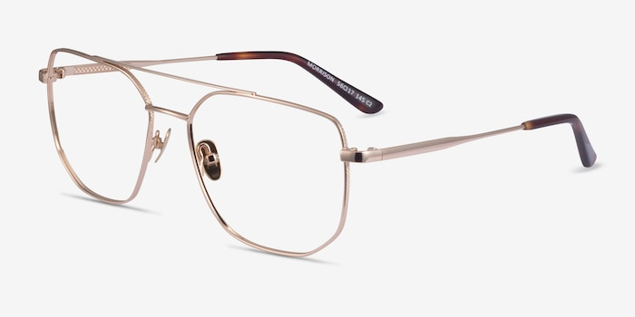 Morrison Gold Metal Eyeglass Frames from EyeBuyDirect, Angle View