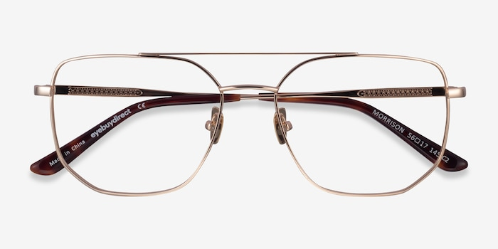 Morrison Gold Metal Eyeglass Frames from EyeBuyDirect, Closed View