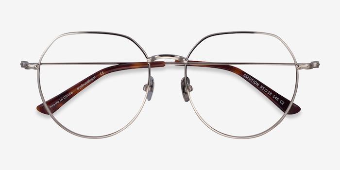 Emotion Silver Metal Eyeglass Frames from EyeBuyDirect, Closed View