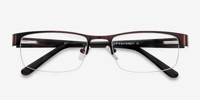 Beckett Coffee Metal Eyeglass Frames from EyeBuyDirect, Closed View