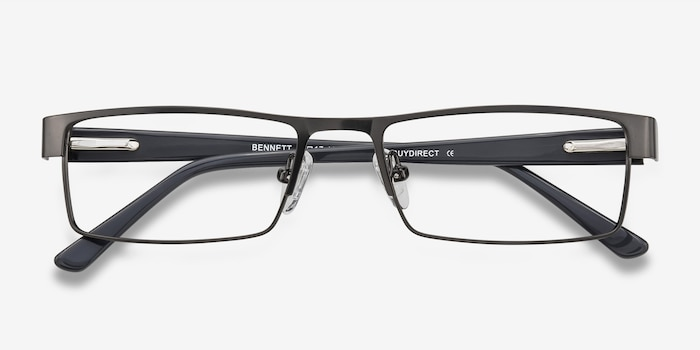 Bennett Gunmetal Metal Eyeglass Frames from EyeBuyDirect, Closed View