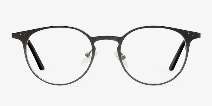 Thin Line Gunmetal Metal Eyeglass Frames from EyeBuyDirect, Front View