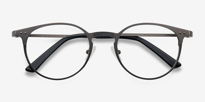 Thin Line Gunmetal Metal Eyeglass Frames from EyeBuyDirect, Closed View
