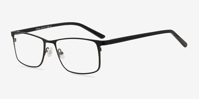 Clinton  Black  Metal Eyeglass Frames from EyeBuyDirect, Angle View