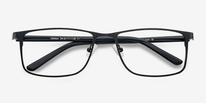 Clinton  Black  Metal Eyeglass Frames from EyeBuyDirect, Closed View
