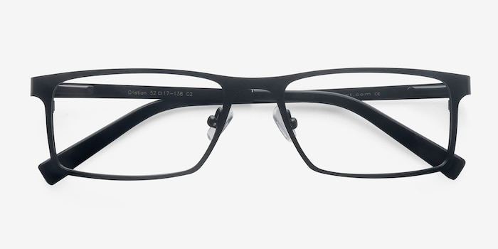 Cristian Black Metal Eyeglass Frames from EyeBuyDirect, Closed View