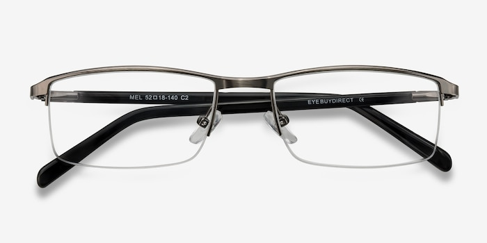 Mel  Gunmetal  Metal Eyeglass Frames from EyeBuyDirect, Closed View