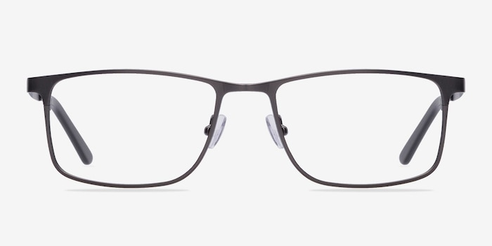 Clinton Gunmetal Metal Eyeglass Frames from EyeBuyDirect, Front View