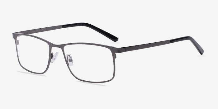 Clinton Gunmetal Metal Eyeglass Frames from EyeBuyDirect, Angle View