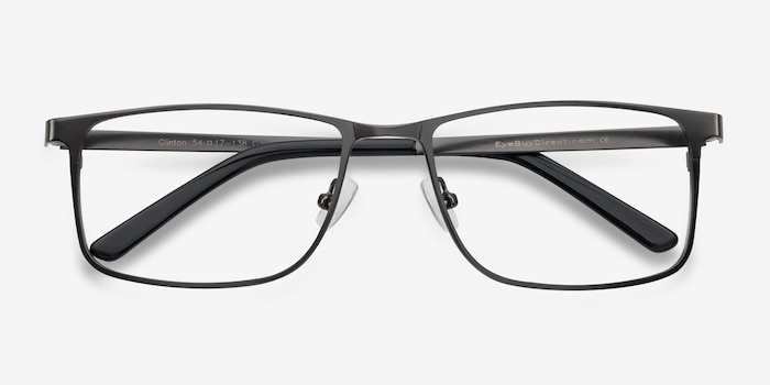 Clinton Gunmetal Metal Eyeglass Frames from EyeBuyDirect, Closed View