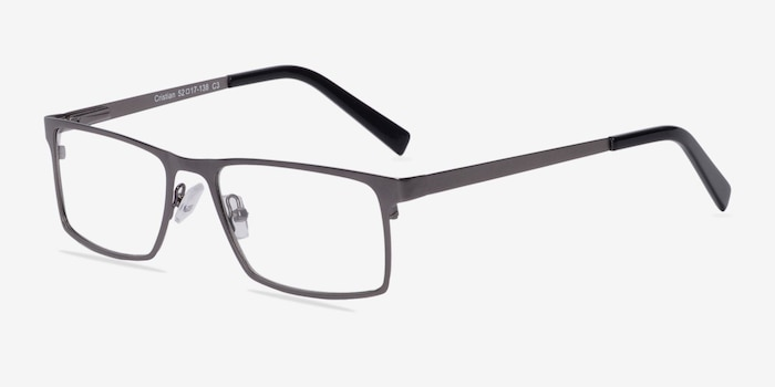 Cristian Gunmetal/Black Metal Eyeglass Frames from EyeBuyDirect, Angle View
