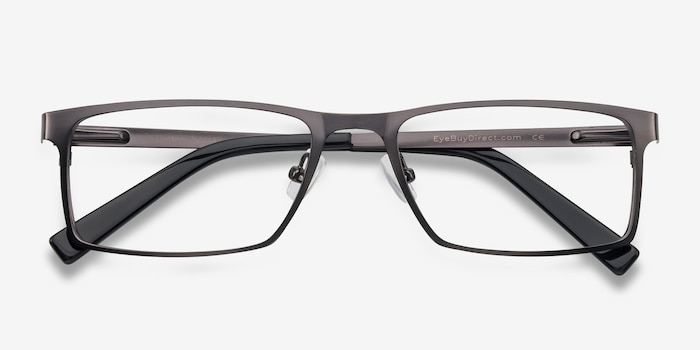 Cristian Gunmetal/Black Metal Eyeglass Frames from EyeBuyDirect, Closed View