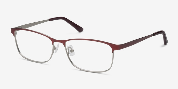 Ashlyn Red Metal Eyeglass Frames from EyeBuyDirect, Angle View