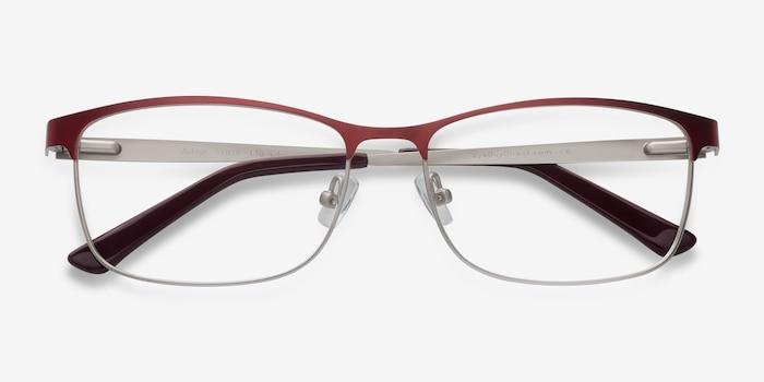 Ashlyn Red Metal Eyeglass Frames from EyeBuyDirect, Closed View