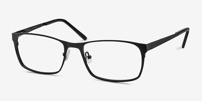 Dublin Matte Black Metal Eyeglass Frames from EyeBuyDirect, Angle View