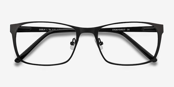 Dublin Matte Black Metal Eyeglass Frames from EyeBuyDirect, Closed View