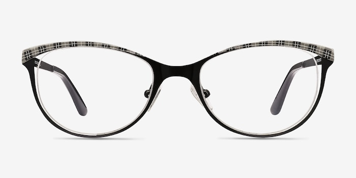 Deco Black Gray Metal Eyeglass Frames from EyeBuyDirect, Front View