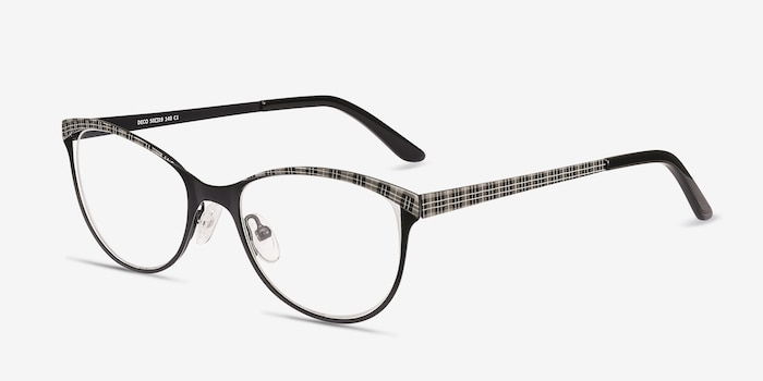 Deco Black Gray Metal Eyeglass Frames from EyeBuyDirect, Angle View