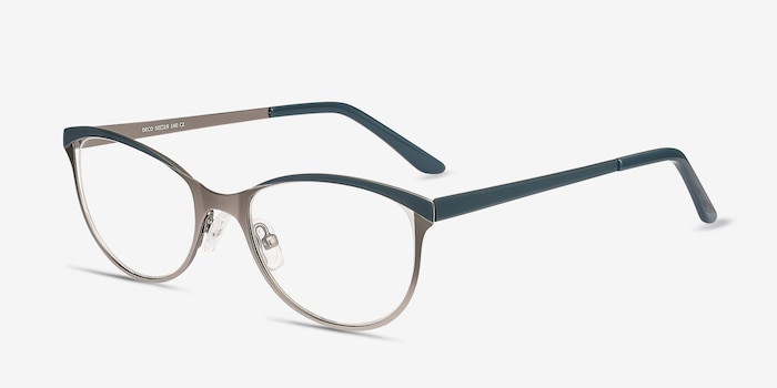Deco Gunmetal Green Metal Eyeglass Frames from EyeBuyDirect, Angle View