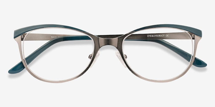 Deco Gunmetal Green Metal Eyeglass Frames from EyeBuyDirect, Closed View