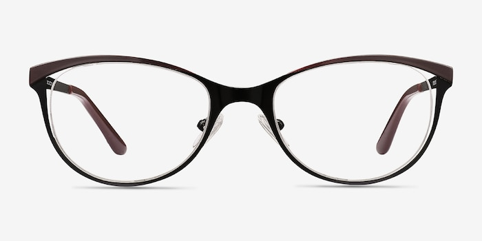 Deco Black Red Metal Eyeglass Frames from EyeBuyDirect, Front View