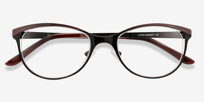 Deco Black Red Metal Eyeglass Frames from EyeBuyDirect, Closed View