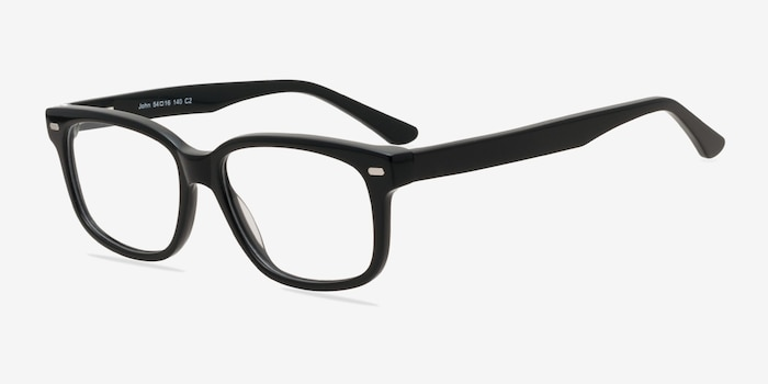 John Black Acetate Eyeglass Frames from EyeBuyDirect, Angle View