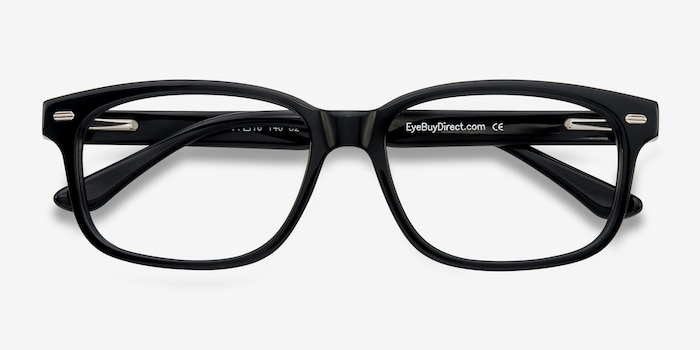 John Black Acetate Eyeglass Frames from EyeBuyDirect, Closed View