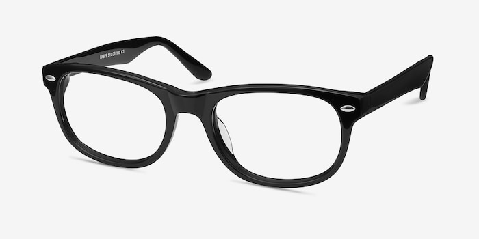 HA979 Black Acetate Eyeglass Frames from EyeBuyDirect, Angle View