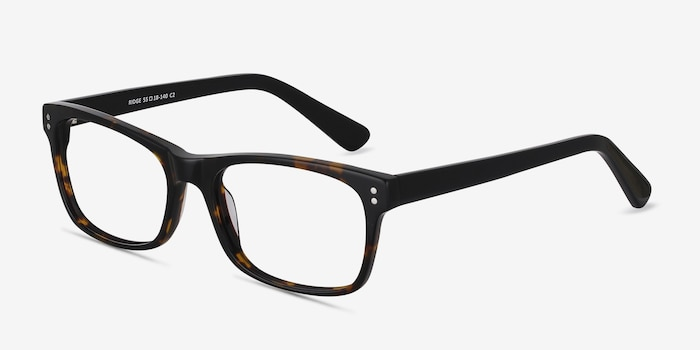 Ridge Tortoise Acetate Eyeglass Frames from EyeBuyDirect, Angle View