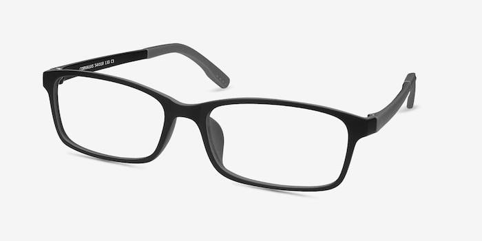 Corvallis Black Plastic Eyeglass Frames from EyeBuyDirect, Angle View